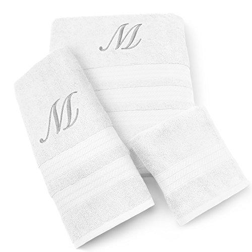 (KAUFMAN - MILAN 3 PIECE WHITE TOWEL SET WITH SILVER MONOGRAM (L))