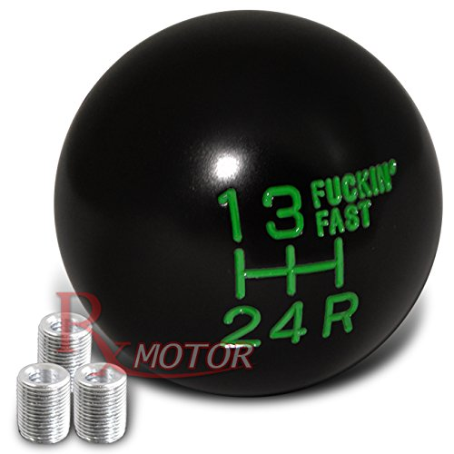 Rxmotor Fing Fast Shift Knob for 5 Speed Short Throw Shifter with M8x1.25, M10x1.5, M12x1.25 Adapter Thread (BLACK-GREEN) (Short G35 Shifter Throw)