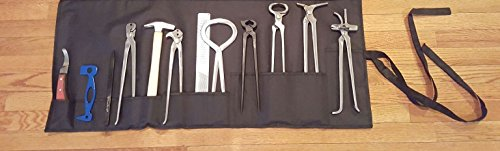 12 Piece Farrier's Tool Kit Set Horse Hoof Nippers Clincher Tester Knife Rasp Chisel Shears Floats Equine Dental + Fold Up Case by Equipment Essentials