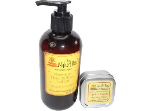 Naked Bee Orange Blossom Honey Hand and Body Lotion 8 Oz + Orange Blossom Honey Hand and Cuticle Healing Salve 1.5 Oz Set by The Naked Bee