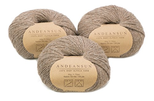 (100% Baby Alpaca Yarn Skeins #4 Worsted, Afghan, Aran - Set of 3 (Heather Brown) - AndeanSun - Luxuriously Soft for Knitting, Crocheting - Great for Baby Garments, Scarves, and)