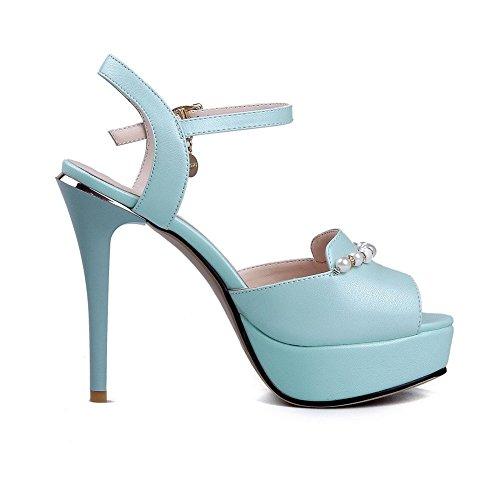 AllhqFashion Mujeres Hebilla Tacón Alto Pu Sólido Peep con Diamante De Imitación Sandalia Azul