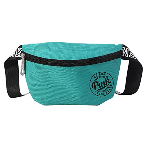 BKID Nylon Waist Pack Zipper Waist Bag Smart Phone Sport Case Travel Fanny Bag Card Pocket (Light blue)