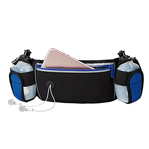 XIUCOO Running Belt Bag with 2 BPA Free Water Bottles Hydration Belt Best for Runners Elastic & Waterproof Neoprene Waist Pouch for Man and Woman & Kids Adjustable Fanny Pack For Hiking For Sale