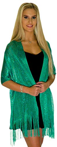 Shawls and Wraps for Evening Dresses, Wedding Shawl Wrap Fringes Scarf for Women Teal Green Petal Rose]()