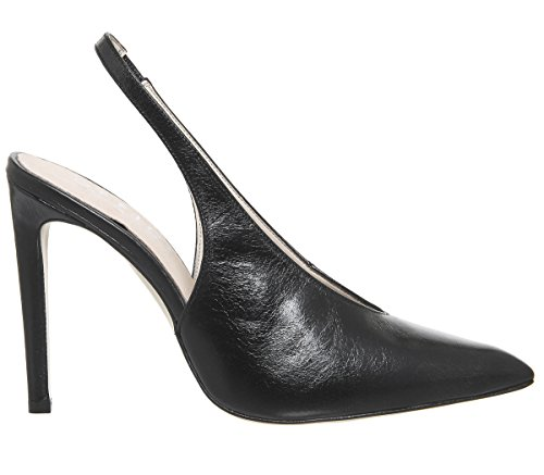 Office Hix Slingback Point Court Heels Black Leather ICHZSA5