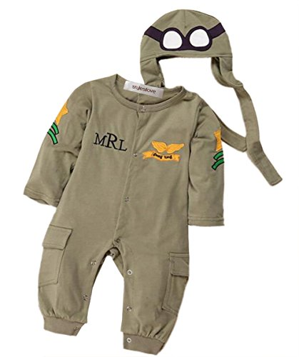 - StylesILove Infant Toddler Baby Boy Army Air Force Baby Romper and Hat 2-pc Costume (80/6-12 Months) Green