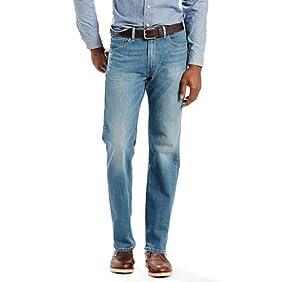 Levis Men's 505 Regular Fit Stretch Jeans, Green Leaf, 35x30