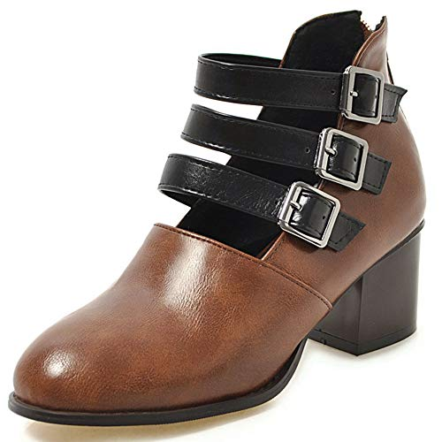 (Womens Oxfords Brogue Shoes, Classic Block Mid-Heel Zip Strappy Buckles Ankle Booties Dress Pump Shoes)