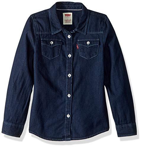 Levi's Girls' Little Long Sleeve Button Up Shirt, Midnight Cove, 6x -
