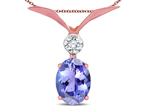 Star K Oval 8x6mm Genuine Tanzanite V Shaped Pendant Necklace 14 kt Rose Gold