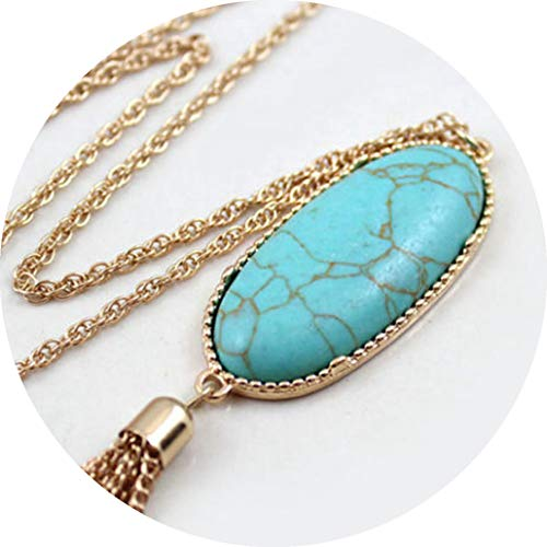 (Fashion Women Big Stone Pendant Long Tassel Metal Chain Necklace Sweater Necklaces Party Jewelry)