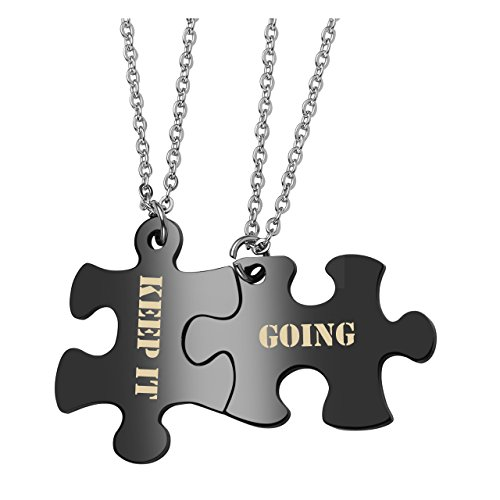 - PiercingJ 2PCS Personalized Custom Engraved Couple Necklaces Matching Puzzle Dog Tag Pendant His and Hers Necklace for Him Her + Gift Box