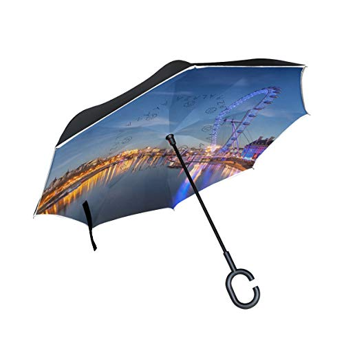 THENAHOME Reverse Inverted Auto Open Umbrella Compact Lightweight Straight Umbrellas with Ferris Wheel On The Lake for Car & Outdoor by THENAHOME