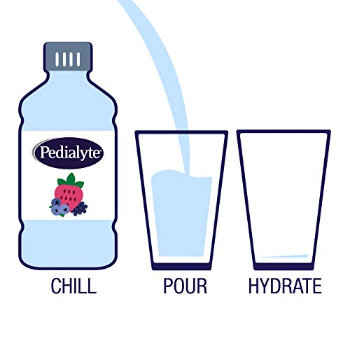 Pedialyte Electrolyte Water with Zero Sugar, Hydration with 3 Key Electrolytes & Zinc for Immune Support, Berry Frost, 1 Liter, 4 Count