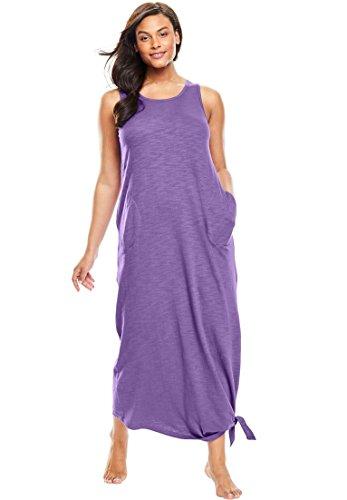 Dreams & Co. Women's Plus Size Long Sleeveless Lounger Violet (Sleeveless Lounger)