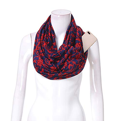 Women Infinity Scarf Soft Print Shawl Wrap Loop Scarf with White Zipper Pocket, Infinity Scarves (Multicolor -D, Free Size)