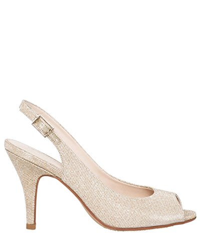 Metallic Peep Toe (LE CHÂTEAU Women's Metallic Peep Toe Slingback,9,Gold)