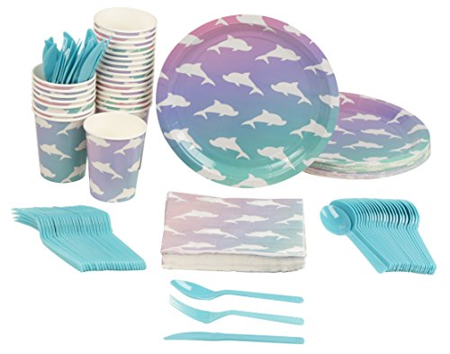 Price comparison product image Disposable Dinnerware Set - Serves 24 - Dolphin Party Supplies for Kids Birthdays Includes Plastic Knives,  Spoons,  Forks,  Paper Plates,  Napkins,  Cups