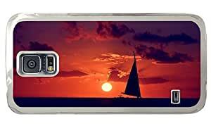 Hipster carrying Samsung Galaxy S5 Cases sailing ocean sunset PC Transparent for Samsung S5