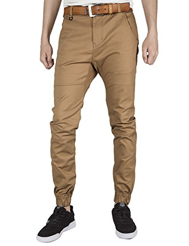 ITALY MORN Men's Chino Jogger Sweatpants Flat Front Casual Pants 2XL Dark (Stretch Weekend Chino Pants)