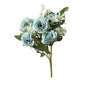 Longay 8 Heads Artificial Fake Peony Silk Flower Bridal Hydrangea Home Wedding Decor (Blue) 11