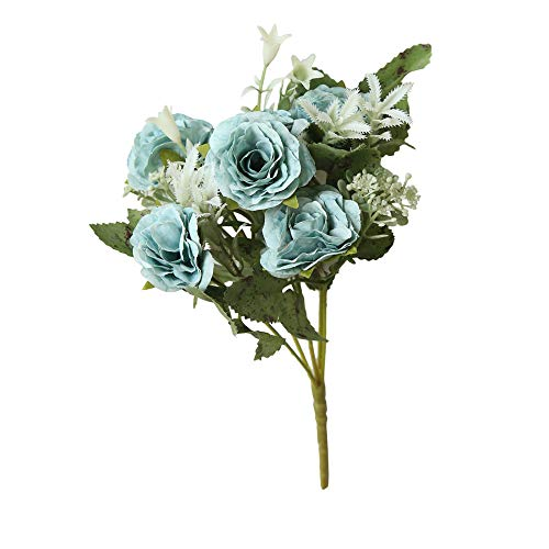 - Tronet Fakes Plants Flower 8 Heads Artificial Fake Peony Silk Flower Bridal Hydrangea Home Wedding Decor BU Blue