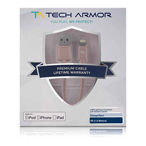 Tech Armor Apple Certified Lightning Cable - 6FT Rose Gold - Tough-Braided Extra-Strong Jacket - Sync/Charge iPhone & iPad