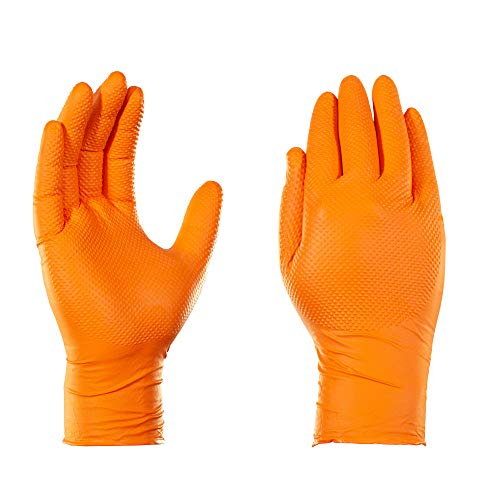 AMMEX Heavy Duty Orange Nitrile 8 Mil Disposale Gloves - Industrial, Extra Thick, Diamond Texture, Powder Free, Ambidextrous, Medium, Box of 100
