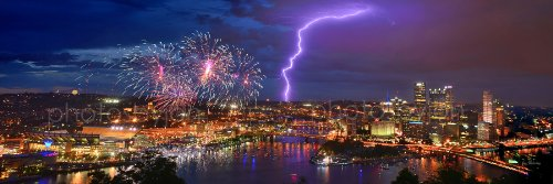 Pittsburgh Skyline PHOTO PRINT UNFRAMED Fireworks Lightning NIGHT Downtown City COLOR 11.75 inches x 36 inches Photographic Panorama Poster Picture Standard Size
