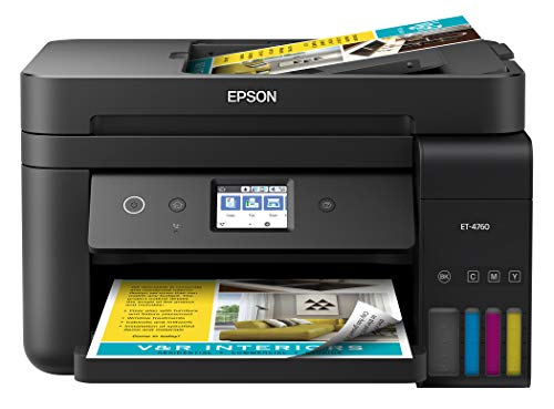 Epson EcoTank ET-4760 Wireless Color All-in-One Cartridge-Free Supertank Printer with Scanner, Copier, Fax, ADF and Ethernet – Black