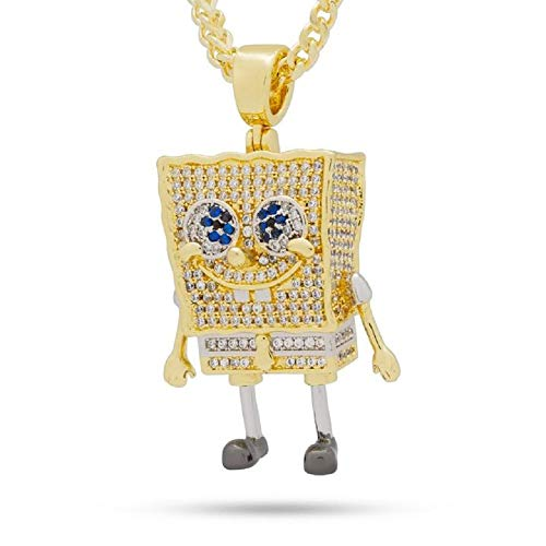 14k Yellow Gold Plated 2.18 Cts CZ Dia Spongebob Only Pendant -