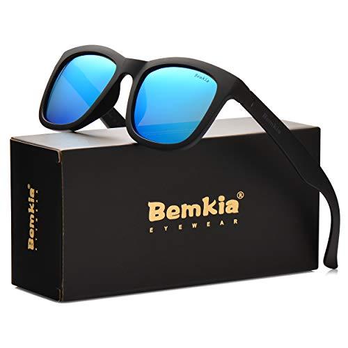 (Bemkia Sunglasses Men Women Polarized Outdoor UV 400 54MM (7 Glossy Frame/Ice Blue Mirror Lens))