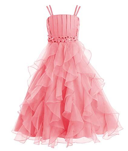 Cdress Organza Flower Girls Dresses Beads First Communion Dress Wedding Party Gowns Ruffles Tiers US 5