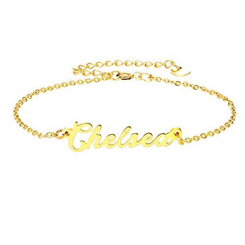 Chelsea Gold Bracelet - LAOFU Personalized Name Bracelet 18k Gold Plated Link Bracelet Gift for Women (Chelsea)