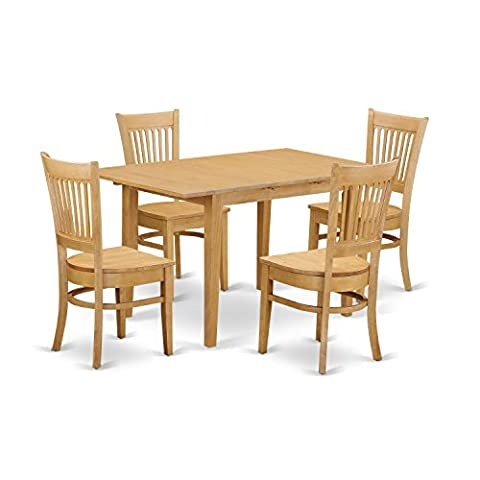 East West Furniture NOVA5-OAK-W 5 Piece Dining Table and 4 Chairs Set - Extendable Dining Table Set