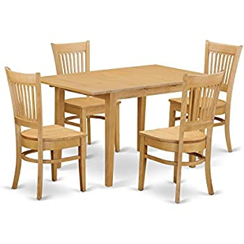 Great East West Furniture NOVA5 OAK W 5 Piece Dining Table And 4 Chairs Set