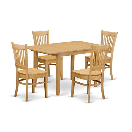 East West Furniture NOVA5-OAK-W 5 Piece Dining Table and 4 Chairs - Rectangular Set Oak Dining Table