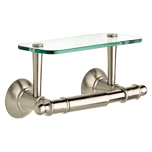 (Delta Double Post Toilet Paper Holder with Glass Shelf in Brushed Nickel )