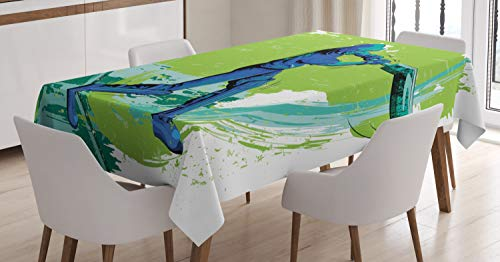 (Ambesonne Sports Tablecloth, Cricket Player Pitching Win Game Champion Team Paintbrush Effect, Dining Room Kitchen Rectangular Table Cover, 52 W X 70 L Inches, Navy Blue Turquoise Lime Green)