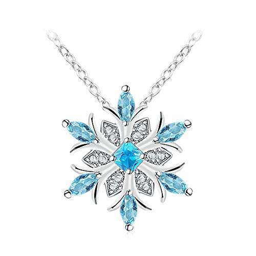 Houlife Christmas Winter Snowflake Flower Pendant Necklace Xmas Drop Dangle Hook Earrings Platinum Plated Copper Clear Blue Glass Beads Inlaid Jewelry for Girls Women ()