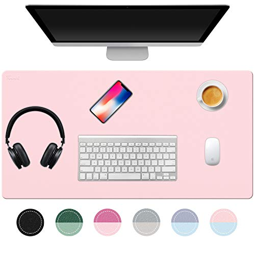 "TOWWI Desk Pad, 32""x16"" PU Leather Desk Blotter, Dual-Side Use Mouse Pad Desk Accessories (Blue/Pink)"