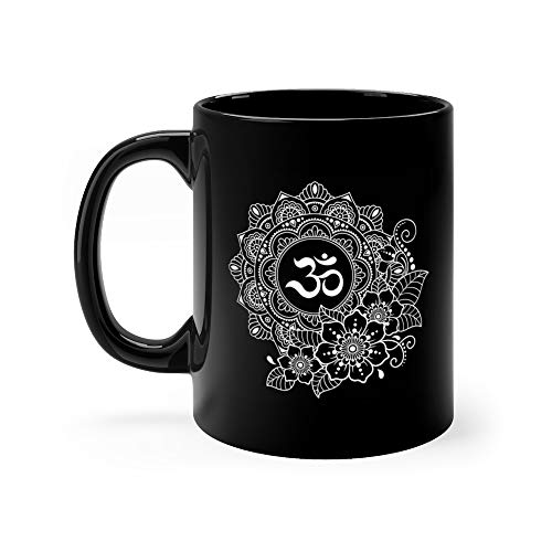 Circular Pattern In Of Mandala With Ancient Hindu Mantra Om And Flower Henna Mehndi Tattoo Decoration Decorative Orname Karma Milk Mug Ceramic Cups 11 Oz -