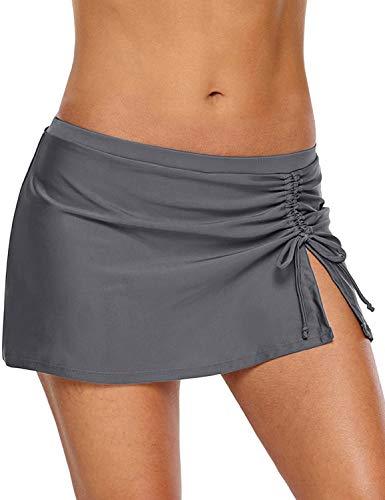 REKITA Women Swim Skirt Solid Color Waistband Skort Bikini Bottom (L, Gray-Drawstring)