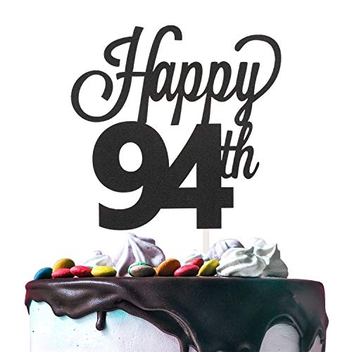 Happy 94th Birthday Black Glitter Cardstock Paper Cake Topper Cheers to 94 Years Old Bday Party Gift Photo Booth Sign Decoration - Premium Double Sided