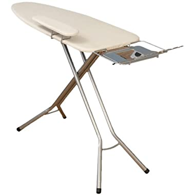 Household Essentials Wide Top 4-Leg Mega Pressing Station Ironing Board with Natural Cotton Cover