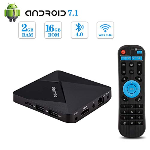 Android 7.1 TV Box,Dolamee 2GB RAM 16GB ROM Mini TV Box Amlogic S905W Quad-Core 64Bit Support 4K Ultra HD/ 3D/ H.265/2…