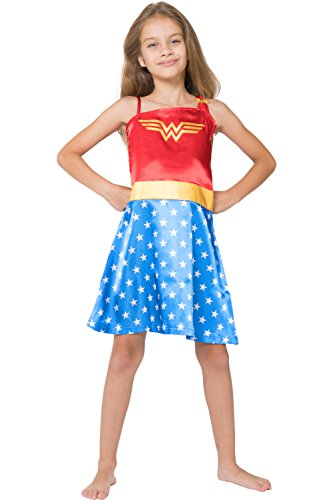 Superhero Outfit Women (DC Comics Little Girls' Wonder Woman Costume Pajama Nightgown, Blue, 10/12)