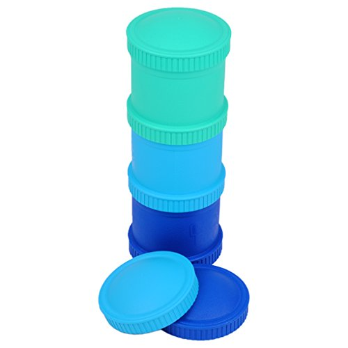 Re-Play Made in the USA 3pk Stackable Snack Cups for Baby and Toddler - Aqua, Sky Blue, Navy Blue (True Blue)
