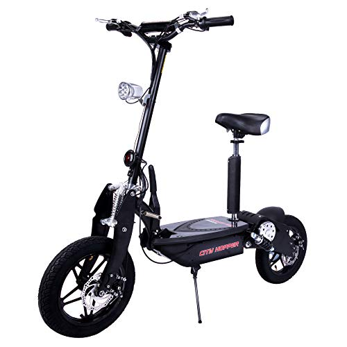 Electric Scooter with Large Wheels, Powerful Motor, Durable Construction, Foldable eScooter (CH16C-BK)